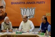 Prime Minister Narendra Modi, BJP President  Amit Shah and Union Finance Minister Arun Jaitley