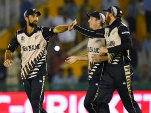 New_Zealand players celebrate win over Pakistan in the ICC World T20 match in Mohali