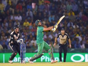 Pakistan Captain Shahid Afridi  plays a shot during the ICC World T20 match between New Zealand and  Pakistan