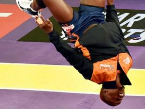 A Bengal Warriors player celebrates after beating Puneri Paltan