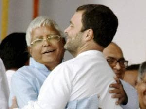 Congress Vice President Rahul Gandhi with RJD Chief Lalu Prasad
