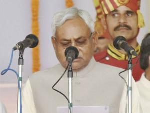 Nitish Kumar takes oath as the Chief Minister of Bihar during the swearing-in ceremony