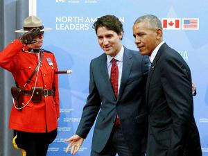 Justin Trudeau, welcomes  Barack Obama to the North American Leaders' Summit