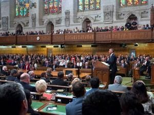 U.S. President Barack Obama addresses Parliament in the House of Commons on Parliament Hill in Ottawa