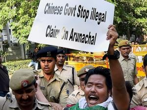 protest march from Arunachal Bhavan to China Embassy against the illegal claim by Chinese authorities