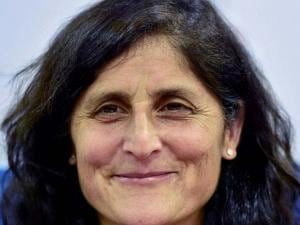 NASA Astronaut Capt. Sunita Williams smiles at an interactive session on 'Women's Empowerment through STEM