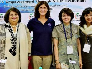 NASA Astronaut Capt. Sunita Williams with FLO President Archana Garodia Gupta (L) and President-elect Vinita Bimbhet and Vasvi Bharat Ram