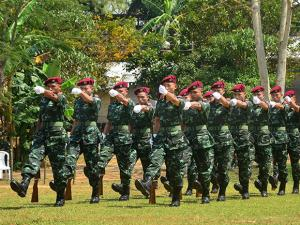 Cadres of NSCN-IM march past during the 38th Naga Republic Day celebrations