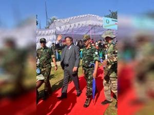 TH Muivah, General Secretary of the NSCN-IM leaves after the 38th Naga Republic Day