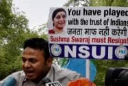An NSUI member talks to media