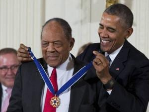 Baseball Hall of Famer Willie Mays receives the Presidential Medal of Freedom