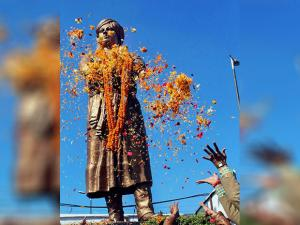 floral tributes at the statue of Swami Vivekanand on his birth anniversary in Bhopal