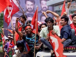 Left supporters celebrating their victory in Assembly polls in Thiruvananthapuram