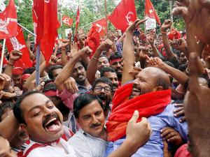 Left supporters celebrating their victory in Assembly polls in Thiruvananthapuram (2)