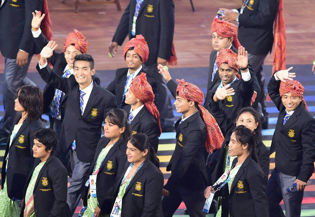 Indian contingent, Celtic Park, opening ceremony, Commonwealth Games, Glasgow, Scotland