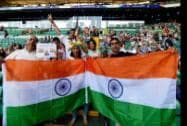 Indians with Tricolors ahead of the opening ceremony of Commonwealth Games in Glasgow  Scotland