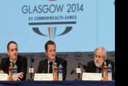 UNICEF UK Ambassdor David Puttnam, Chief Operating Officer, UNICEF UK, Jon Sparkes and Chief Executive, Glasgow 2014 David Grevemberg  at the UNICEF and Glasgow 2014 Commonwealth Games Partnership in Glasgow, Scotland