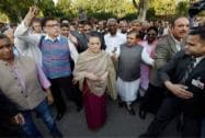 Congress chief Sonia Gandhi and other opposition leaders during a march from Parliament to Rashtrapati Bhavan
