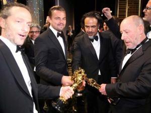 "Emmanuel Lubezki with the award for best cinematography for ""The Revenant"", from left, Leonardo DiCaprio with the award for best actor in a leading role for ""The Revenant"","