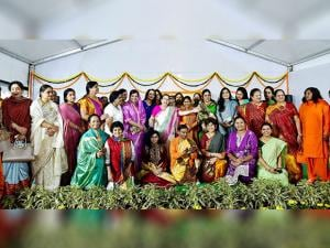 Lok Sabha Speaker Sumitra Mahajan alongwith Women MP's pose a group photo during a cultural evening