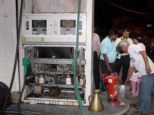 STF personnel inspect a petrol pump in old city area of Lucknow