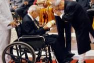 President Pranab Mukherjee presents Padma Bhushan to Saichiro Misumi during Padma Awards 2015