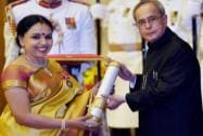 President Pranab Mukherjee presents Padma Bhushan to Sudha Ragunathan during Padma Awards 2015