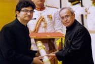 President Pranab Mukherjee presents Padma Shri to Prasoon Joshi during Padma Awards 2015