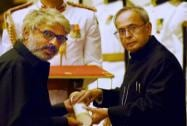 President Pranab Mukherjee presents Padma Shri to Sanjay Leela Bhansali during Padma Awards 2015