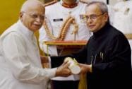 President Pranab Mukherjee presents Padma Vibhushan to Lal Krishna Advani during the function of Padma Awards 2015