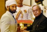 President Pranab Mukherjee presents Padma Shri to Sardar Singh during Padma Awards 2015