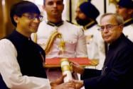 President Pranab Mukherjee presents Padma Bhushan to Indian-American mathematician, Manjul Bhargava