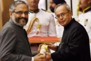 President Pranab Mukherjee presents Padma Bhushan to Senior Endocrinologist Ambrish Mithal