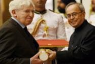 President Pranab Mukherjee presents Padma Shri to  French astrophysicist author Jacques Blamont
