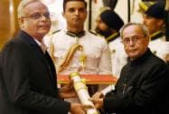 President Pranab Mukherjee presents Padma Shri to S Arunan of ISRO