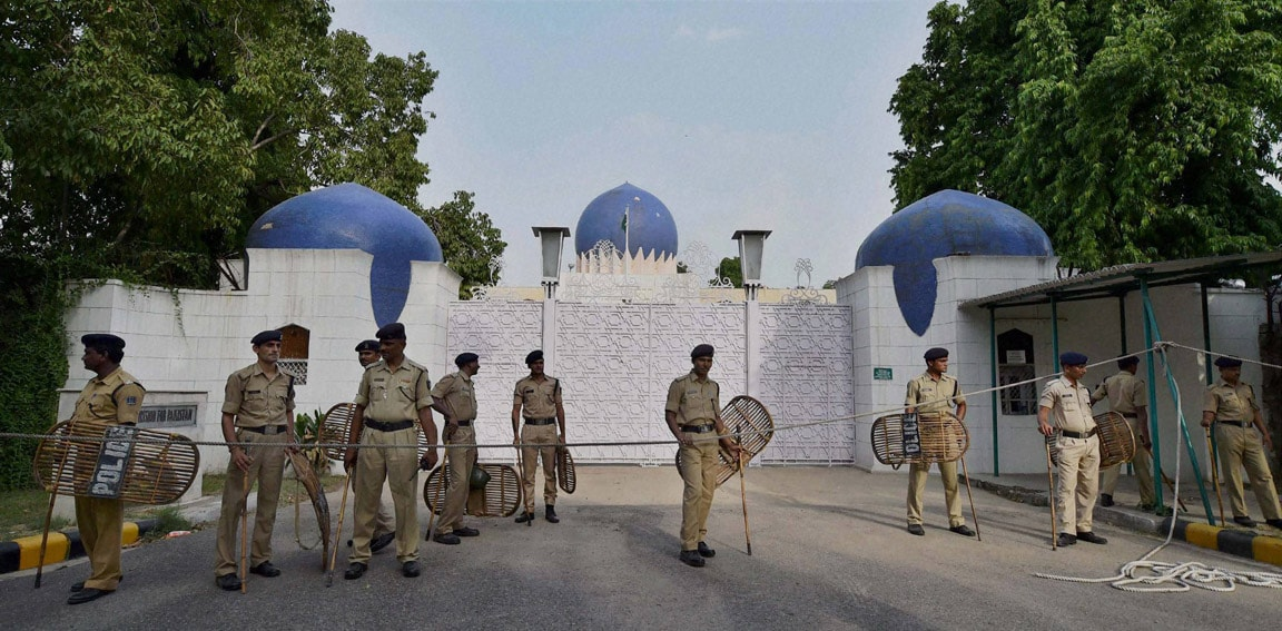 Security, personnel, stand guard, main gate, Pakistan High Commission, New Delhi