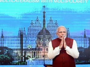 Prime Minister Narendra Modi  at the Opening Session of the Second Raisina Dialogue, in New Delhi