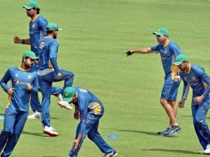 Pakistan cricket team at a practice session for the upcoming T 20 World Cup at Eden Garden