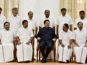 Palaniswami with Governor CH Vidyasagar Rao and his cabinet