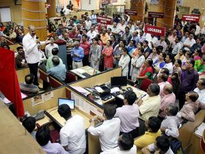 Bank employees during their country-wide strike in protest against the Centre, in Mumbai