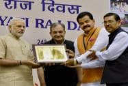 Prime Minister, Narendra Modi present the State award to Sikkim Minister for Rural Rural Management & Development, S B Subedi and Secretary, D R Nepal