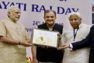 Prime Minister, Narendra Modi presented the State award to Karnataka Rural Development and Panchayat Raj Minister H K Patil and Secretary, Gangaram Baderiya