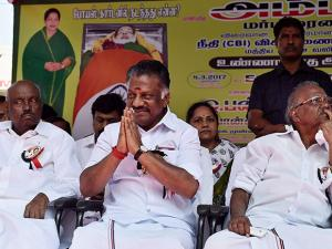 O Panneerselvam with supporters during their day-long fast demanding CBI probe