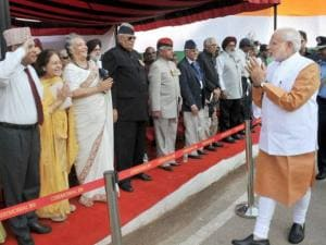 Prime Minister Narendra Modi meets war veterans and their families