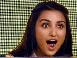 Bollywood actress Parineeti Chopra gestures during a promotional event in New Delhi (2)