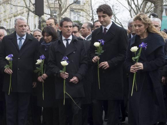 Canadian Prime Minister Justin Trudeau, Sophie Gregoire-Trudeau, French Prime Minister Manuel Valls