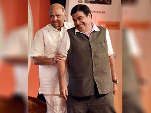Union Minister Nitin Gadkari and NCP chief Sharad Pawar during the book launch of  Subhash Chandra's Marathi version