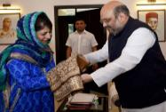 Amit Shah with PDP President Mehbooba Mufti meeting regarding the alliance in J&K government