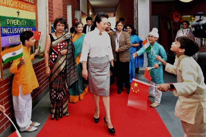 China's, first lady, Peng Liyuan, arrives, Tagore International School