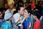 China's first lady Peng Liyuan kisses a student